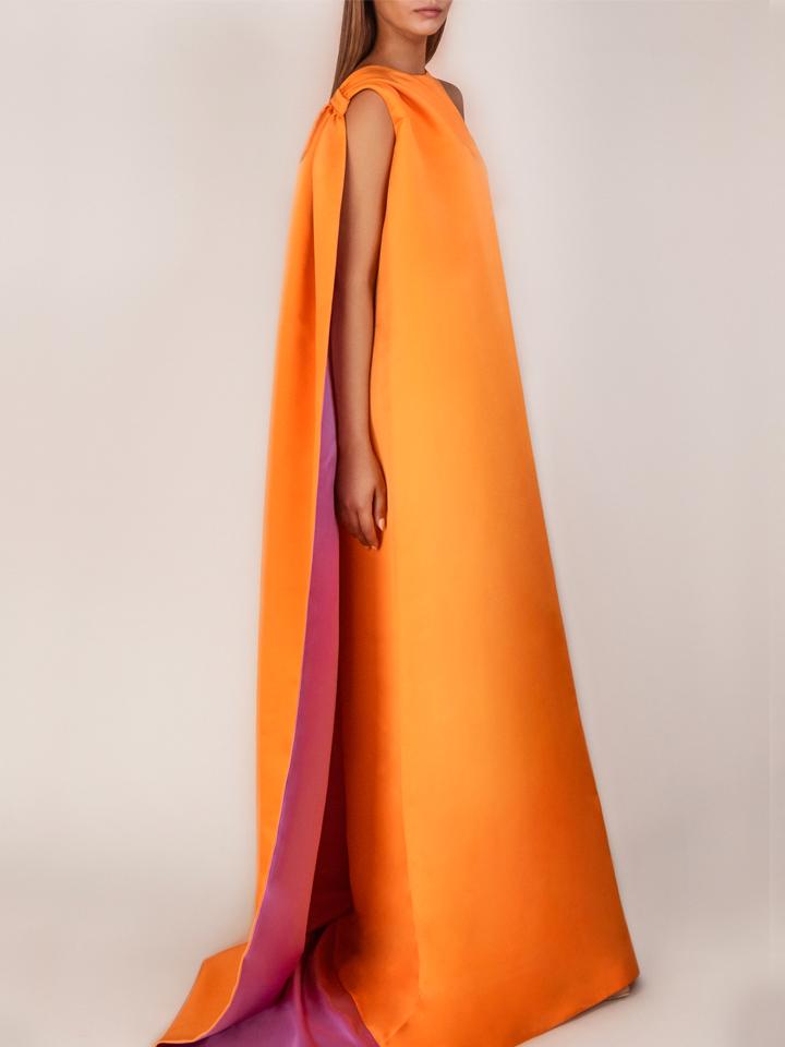 Dress with Chale -Orange