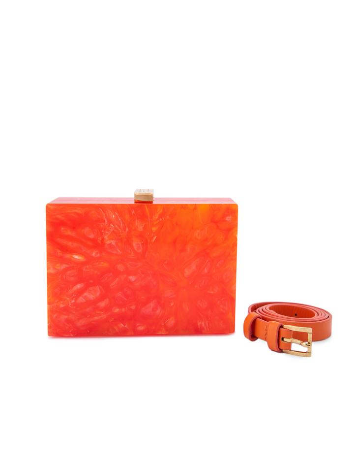 Orange Marble H Clutch