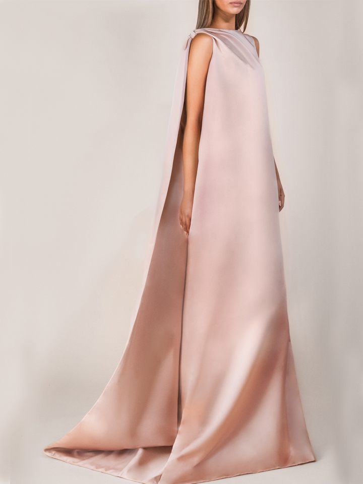 Dress with Chale -Nude