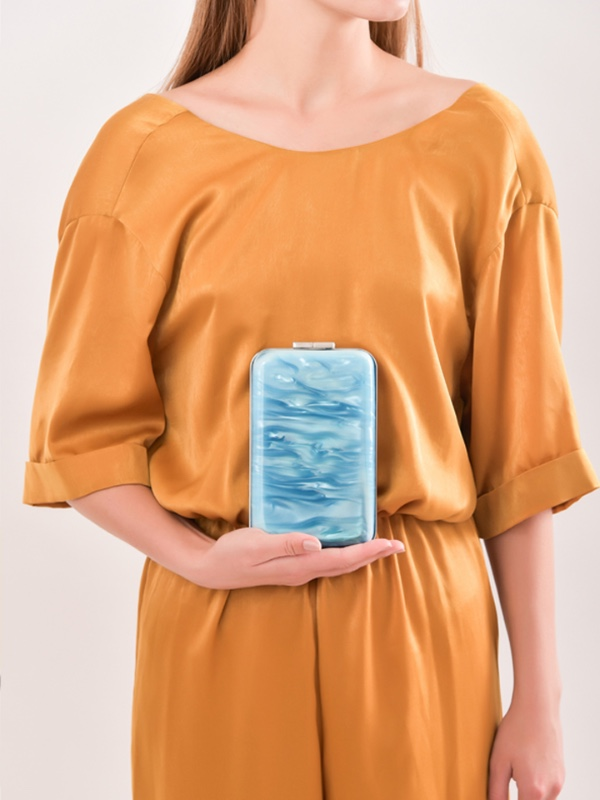 Azure/Rose Marble Clutch
